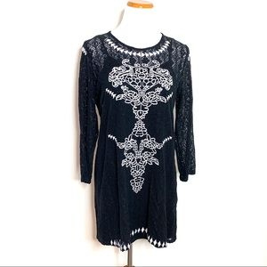 Everly Black Lace Embroidered Dress